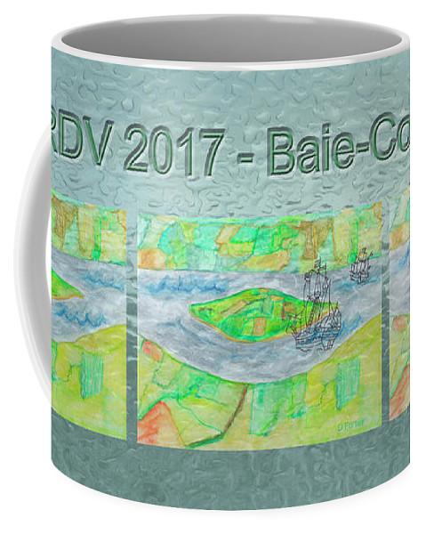 Island Coffee Mug featuring the mixed media Rdv 2017 Baie-comeau Mug Shot by Dominique Fortier