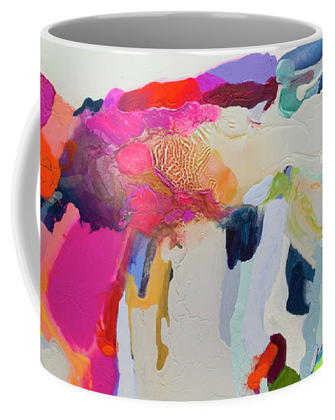 Abstract Coffee Mug featuring the painting Reach In Reach Out by Claire Desjardins