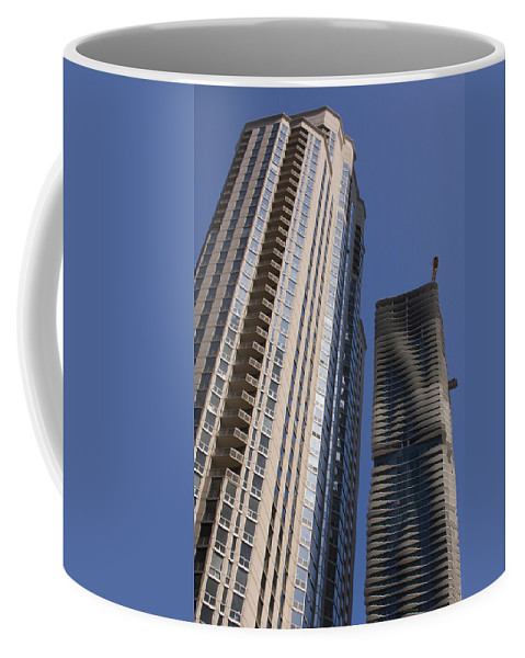 Chicago Wind Windy City Building Sky Skyscraper Blue Tall High Big Large Urban Metro Coffee Mug featuring the photograph Reaching High by Andrei Shliakhau
