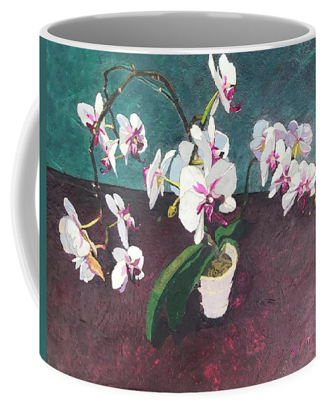 Recycled Coffee Mug featuring the mixed media Reaching by Leah Tomaino