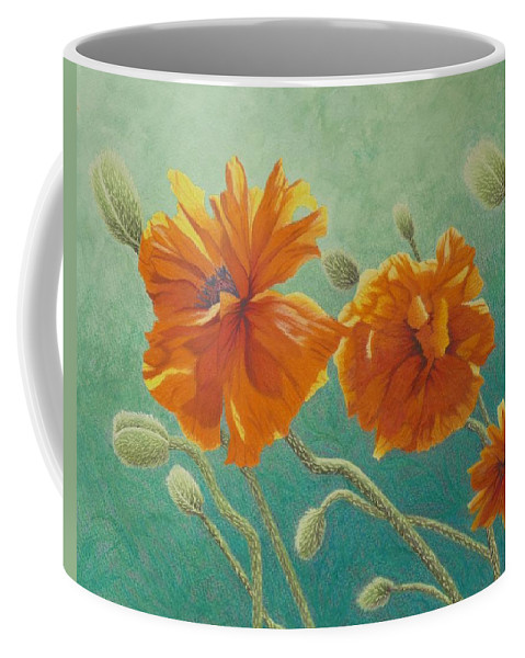 Poppy Coffee Mug featuring the painting Reaching Out by Lisa Gibson