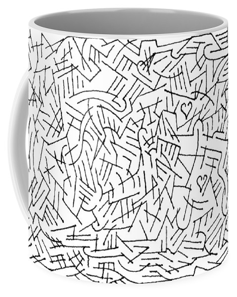 Mazes Coffee Mug featuring the drawing Reaching Out by Steven Natanson