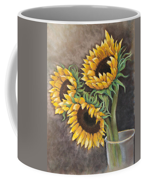 Still Life Coffee Mug featuring the painting Reaching Sunflowers by Susan Jenkins