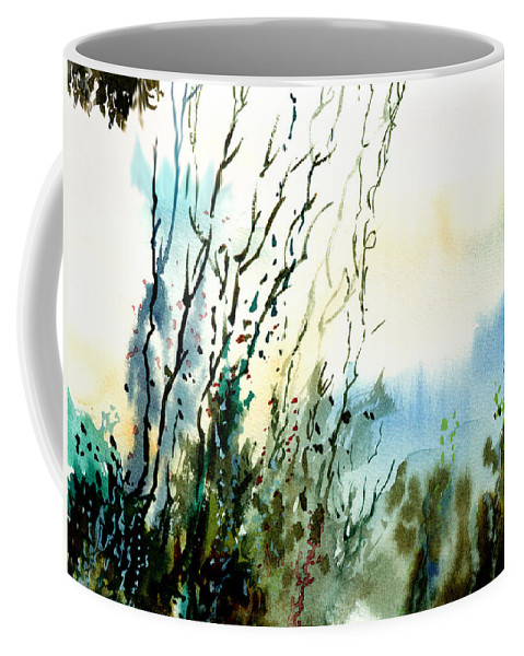 Watercolor Coffee Mug featuring the painting Reaching The Sky by Anil Nene