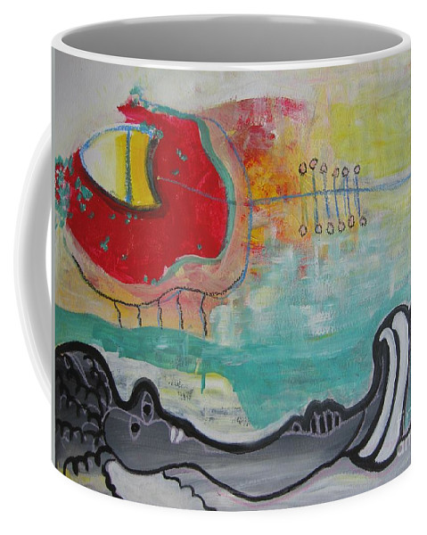 Red Paintings Coffee Mug featuring the painting Read My Mind1 by Seon-Jeong Kim
