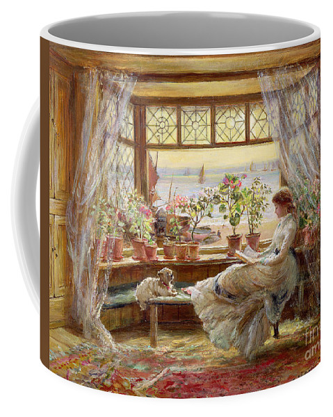 Dog Coffee Mug featuring the painting Reading by the Window by Charles James Lewis