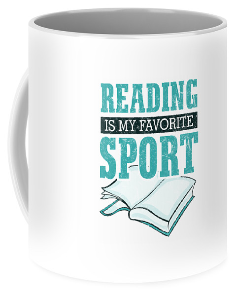 Books-and-coffee Coffee Mug featuring the digital art Reading Is My Favorite Sport Light Blue by Kaylin Watchorn