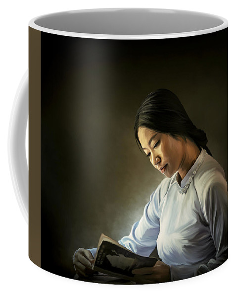 Painting Coffee Mug featuring the digital art Reading by Kang Untung