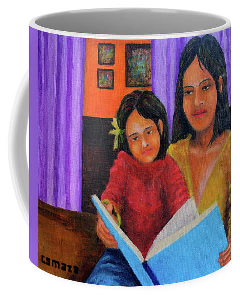 Mother Coffee Mug featuring the painting Reading With Mom by Cyril Maza