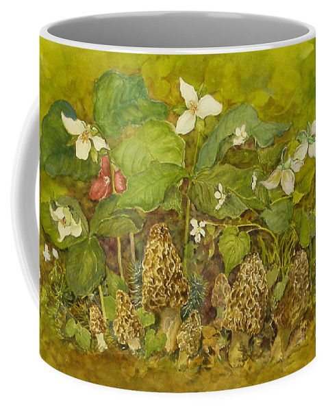 Mushrooms;trillium;spring;violets;woods;woodland;morels;watercolor Painting; Coffee Mug featuring the painting Ready For Pickin' by Lois Mountz