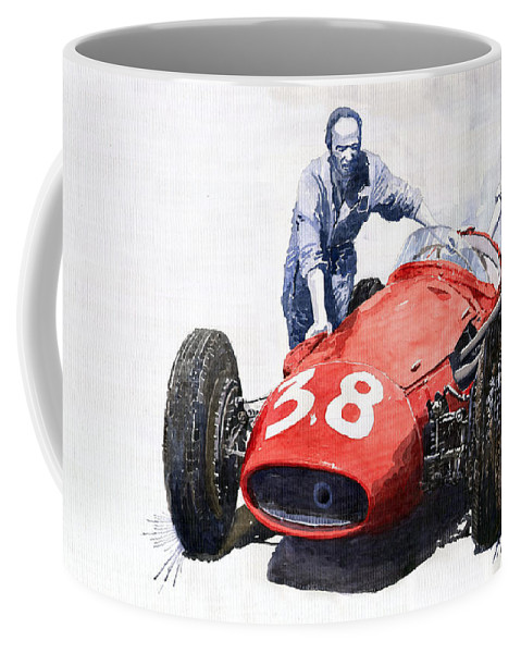 Watercolour Coffee Mug featuring the painting Ready For Racing Maserati 250 F by Yuriy Shevchuk