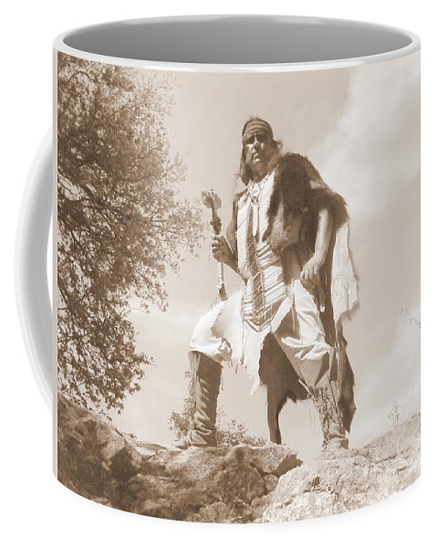 Indian War Club Scout Old Coffee Mug featuring the photograph Ready For The Ambush by Cindy New