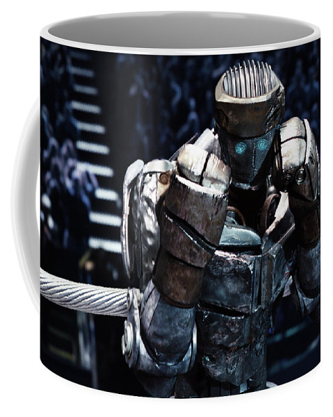 Real Steel Coffee Mug featuring the mixed media Real Steel Atom by Movie Poster Prints
