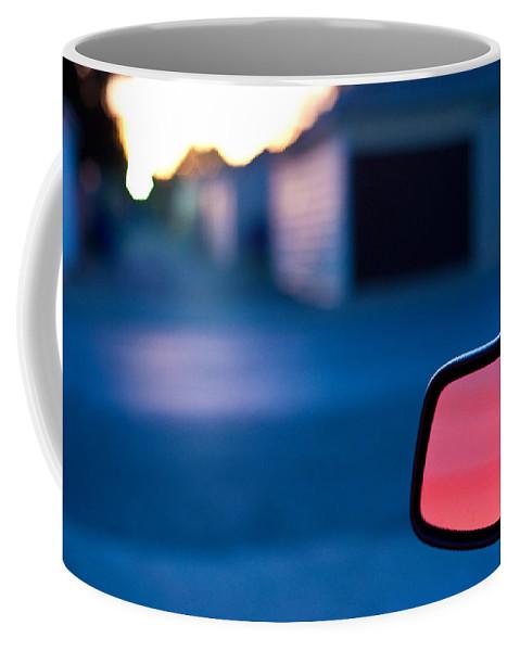 Car Mirror Coffee Mug featuring the photograph Rearview Mirror by Steven Dunn