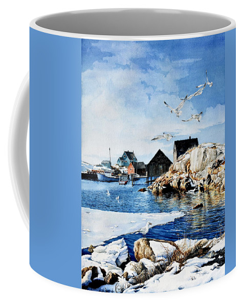 Peggy's Cove Painting Coffee Mug featuring the painting Reason To Believe by Hanne Lore Koehler