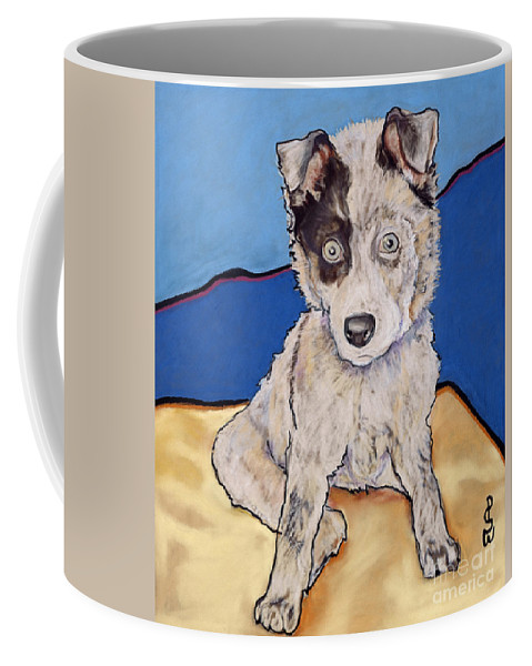Merle Aussie Coffee Mug featuring the painting Reba Rae by Pat Saunders-White