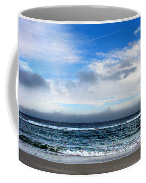 Seascape Coffee Mug featuring the photograph Receding Fog Seascape by Steve Karol