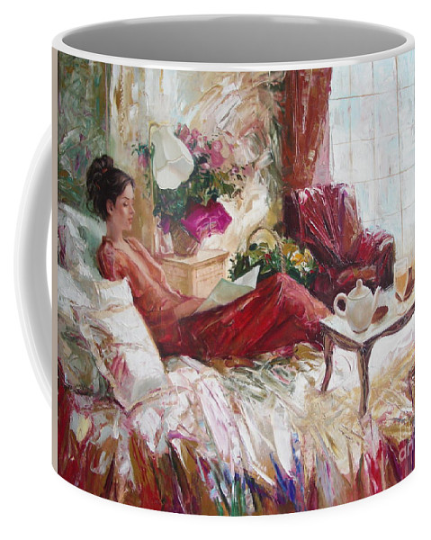 Art Coffee Mug featuring the painting Recent News by Sergey Ignatenko