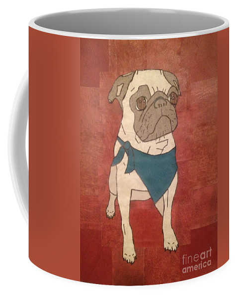 Coffee Mug featuring the mixed media Recycled Pug by Purely Pugs Design
