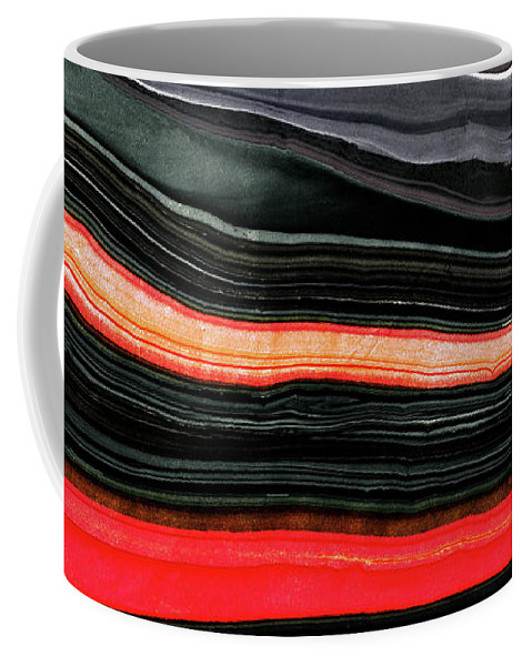 Red Coffee Mug featuring the painting Red And Black Art - Fire Lines - Sharon Cummings by Sharon Cummings