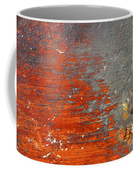 Red Coffee Mug featuring the photograph Red And Grey Abstract by Hana Shalom