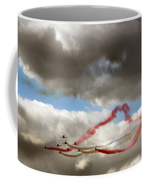 Red Arrows Coffee Mug featuring the photograph Red And White Ribbon by Angel Ciesniarska