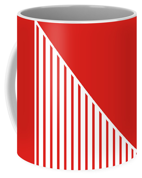 Red Coffee Mug featuring the digital art Red and White Triangles by Linda Woods