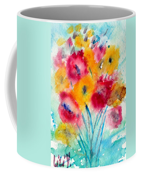 Flowers Coffee Mug featuring the painting Red And Yellow Flowers by Luiza Vizoli