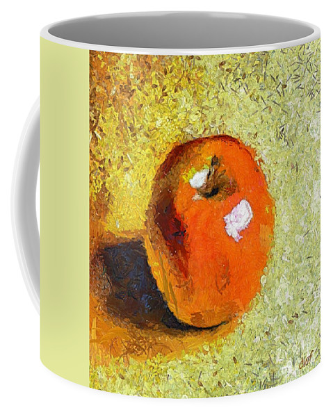 Red Apple Coffee Mug featuring the painting Red Apple by Dragica Micki Fortuna