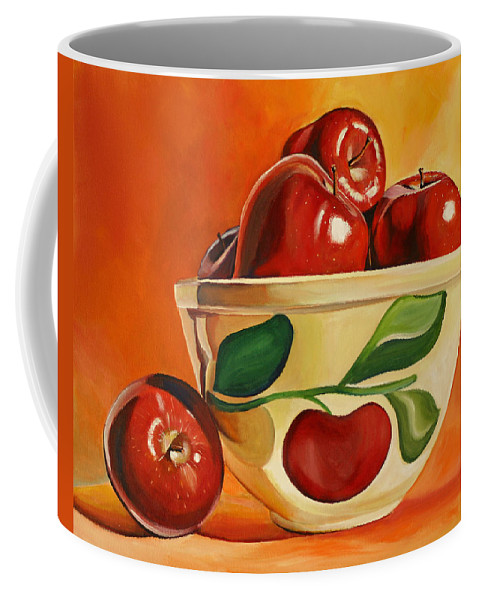 Apples Coffee Mug featuring the painting Red Apples In Vintage Watt Yellowware Bowl by Toni Grote