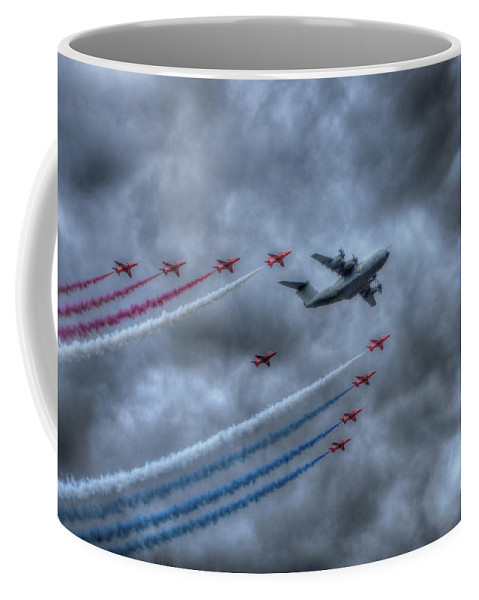 Airbus Coffee Mug featuring the digital art Red Arrows And A400m Airbus by Nigel Bangert