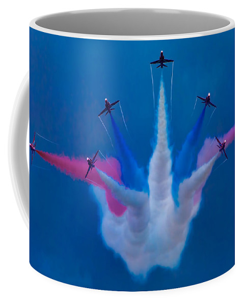 Flight Coffee Mug featuring the photograph Red Arrows At Airbourne 2010 by Chris Lord