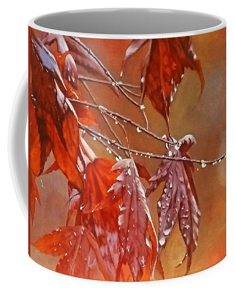 Acrylic Coffee Mug featuring the painting Red Autumn by Sheryl Gallant