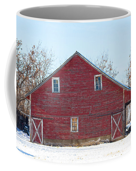 Barn Coffee Mug featuring the photograph Red Barn by Dart Humeston