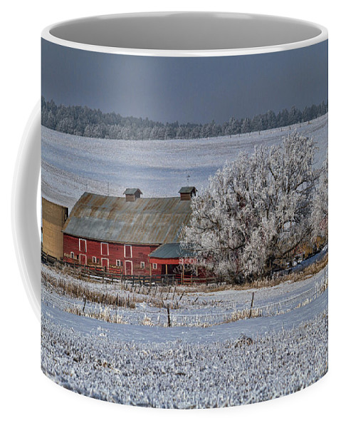 Winter Coffee Mug featuring the photograph Red Barn In Winter by Alana Thrower