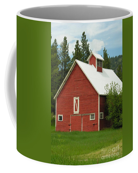 Red Coffee Mug featuring the photograph Red Barn Montana by Diane Greco-Lesser