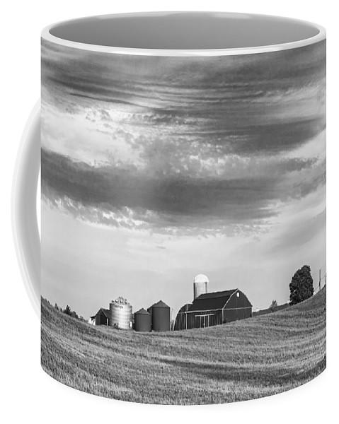 Steve Harrington Coffee Mug featuring the photograph Red Barns Bw by Steve Harrington