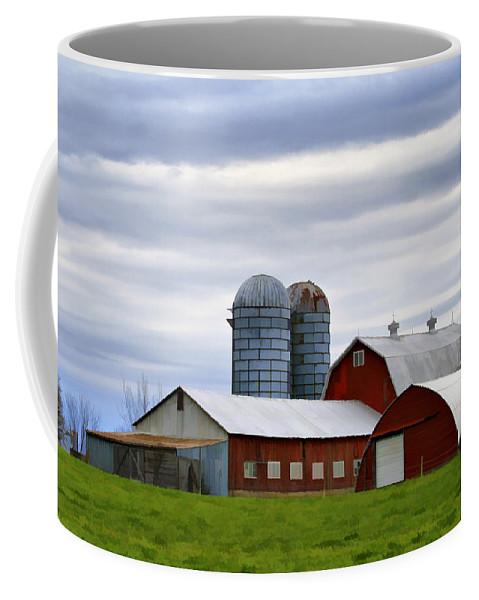 Rural Coffee Mug featuring the photograph Red Barns Of 3 by Deborah Benoit