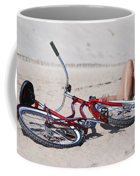 Red Coffee Mug featuring the photograph Red Bike On The Beach by Rob Hans