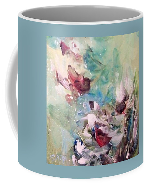 Winter Scene Coffee Mug featuring the painting Red Birds In Winter by Mary Wolf
