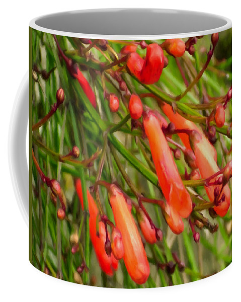 Abundant Coffee Mug featuring the painting Red Blossoms Of A Firecracker Plant by Jeelan Clark