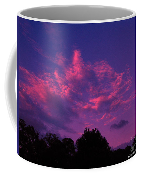 Night Scape Coffee Mug featuring the photograph Red Blue Sky by Greg Patzer