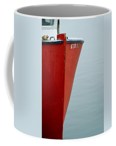 Red Coffee Mug featuring the photograph Red Boat by Charles Harden