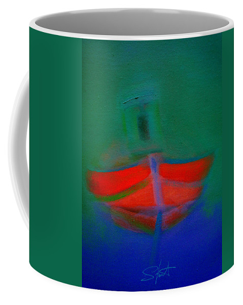 Fishing Boat Coffee Mug featuring the painting Red Boat In The Mirror by Charles Stuart