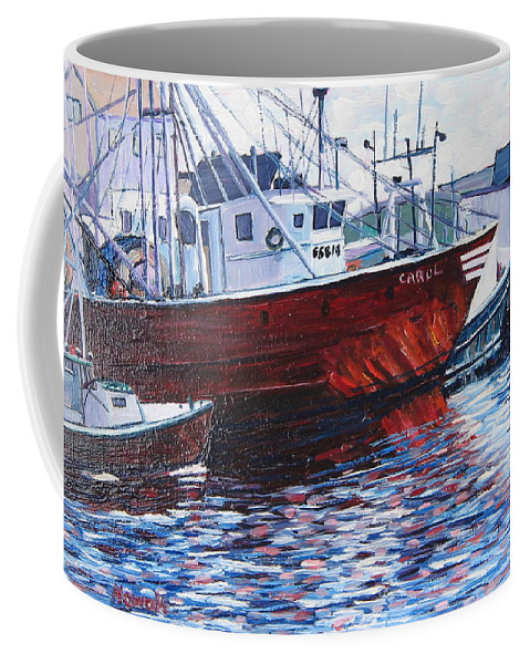 Boats Coffee Mug featuring the painting Red Boats by Richard Nowak