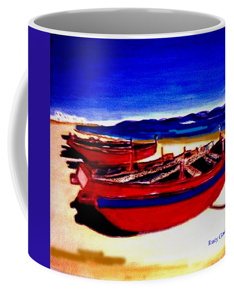 Boats Coffee Mug featuring the painting Red Boats by Rusty Gladdish