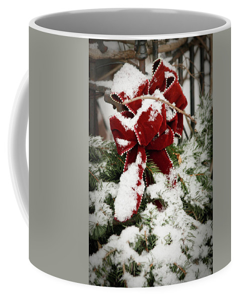 Winter Coffee Mug featuring the photograph Red Bow On Pine Bough by Teresa Mucha