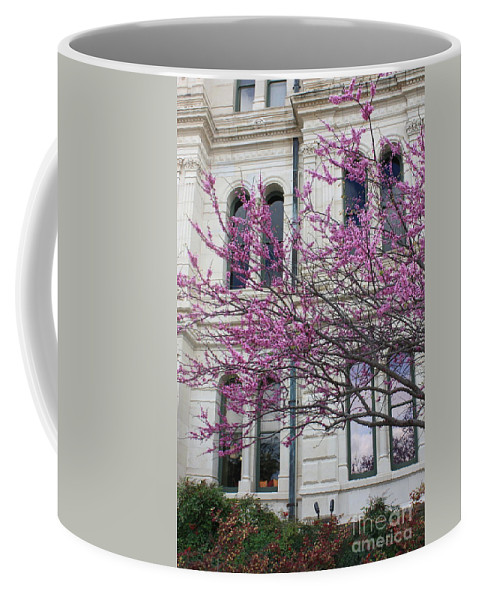 Red Buds Coffee Mug featuring the photograph Red Buds And San Antonio City Hall by Carol Groenen