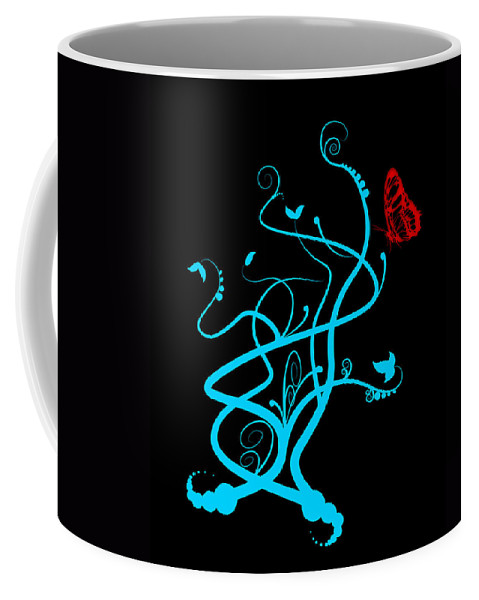 Flower Coffee Mug featuring the digital art Red Butterfly And Vine by Svetlana Sewell