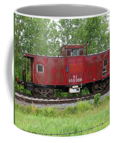 Train Coffee Mug featuring the photograph Red Caboose In The Rain by J R Seymour